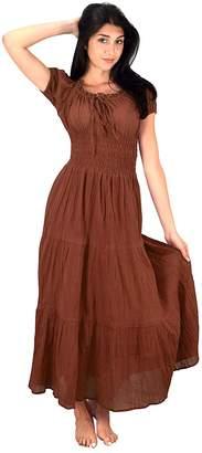 Couture Peach Gypsy Boho Cap Sleeves Smocked Waist Tiered Renaissance Maxi Dress ( XL)