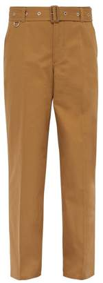 Burberry Belted Relaxed Leg Cotton Twill Trousers - Mens - Brown