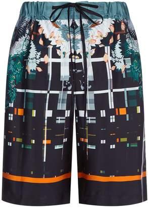 Meng Silk Geometric Floral Print Pyjama Shorts