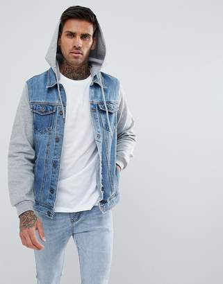 Pull&Bear Denim Jacket With Jersey Sleeves And Hood In Blue