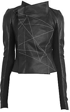 Rick Owens Women's Stitched Leather Biker Jacket