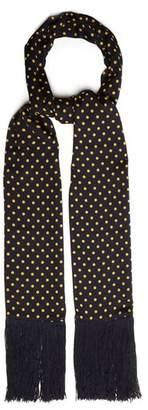 Joseph Polka Dot Print Silk Scarf - Womens - Navy