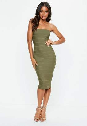 Missguided Khaki Bandeau Bandage Midi Dress, Khaki