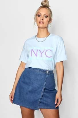 boohoo Plus Jodie NYC Slogan-Shirt