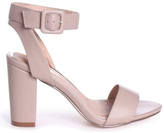 c6bde90f75a Linzi MILLIE - Taupe Open Toe Block Heel With Ankle Strap And Buckle Detail