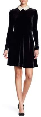 Betsey Johnson Faux Pearl Collar Fit & Flare Velvet Dress