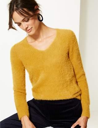 Marks and Spencer Faux Fur Yarn V-Neck Jumper