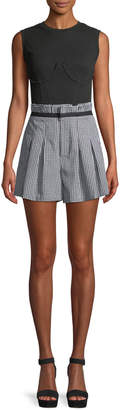KENDALL + KYLIE Gingham Belted Paperbag Shorts
