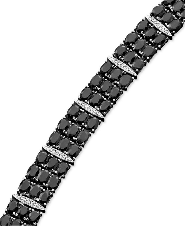 Black Sapphire (50 ct. t.w.) and Diamond Accent Bracelet in Sterling Silver