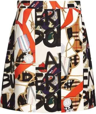 Burberry Graffiti Archive Scarf Print Silk Wool Mini Skirt