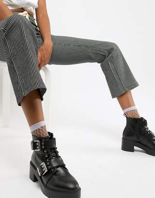 Asos DESIGN Rouge chunky lace up buckle boots