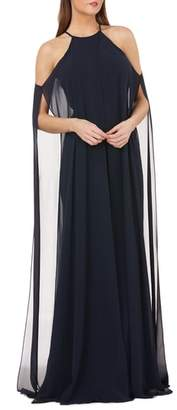 Carmen Marc Valvo Split Chiffon Halter Gown