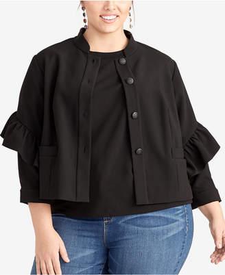 Rachel Roy Plus Size Ruffle-Sleeve Jacket