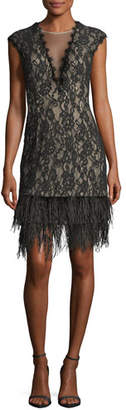 Aidan Mattox V-Neck Cap-Sleeve Lace Cocktail Dress w/ Feather Hem