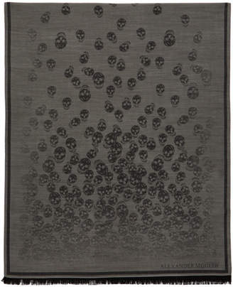 Alexander McQueen Grey and Black Degenerating Skull Scarf