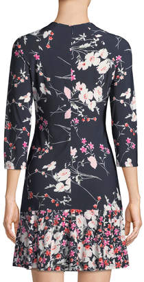 Eliza J Long-Sleeve Floral-Print Ruffle-Hem Dress