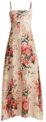 Zimmermann - Laeila Floral Printed Linen Dress - Womens - Cream Multi