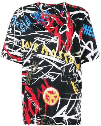 Love Moschino logo graffiti print T-shirt