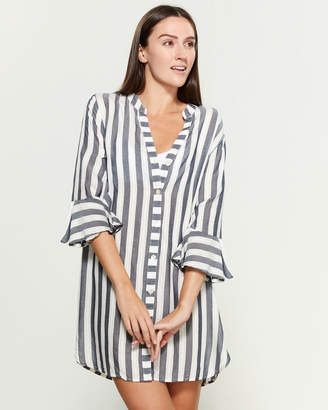 Blue Island Striped Button Front Swim Cover-Up Dress