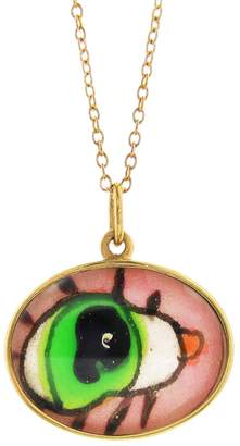 Ileana Makri EYE M by Hand Painted Green and Pink Evil Eye Necklace
