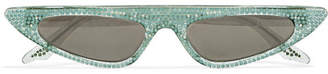 Cat Eye Andy Wolf - Florence Crystal-embellished Cat-eye Acetate Sunglasses - Green