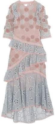 Alexis Mikaela Open-Back Ruffle-Trimmed Guipure Lace Midi Dress