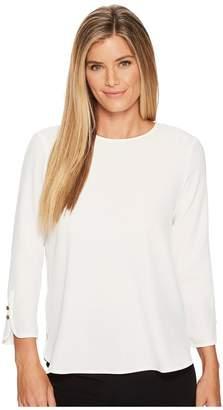 Calvin Klein Long Sleeve Blouse w/ Button Detail Women's Blouse