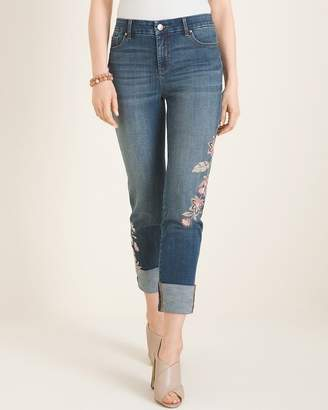 So Slimming Tranquil Floral-Embroidered Girlfriend Ankle Jeans