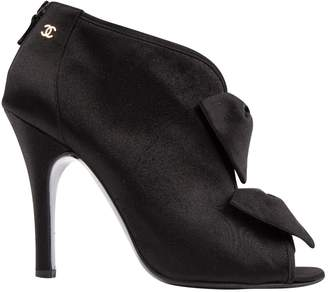 Chanel Black Cloth Heels