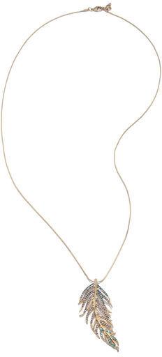 Rachel Roy Pave Feather Pendant Necklace