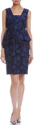 Grace Continental (グレース コンチネンタル) - GRACE CONTINENTAL フラワージャカード フリルペプラム ドレス ネイビー 36