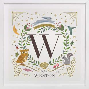 Woodland Alphabet blocks Nursery Custom Art Print