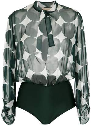 Adriana Degreas printed silk bodysuit