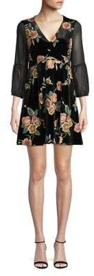 BCBGeneration Empire Waist Floral Velvet Dress