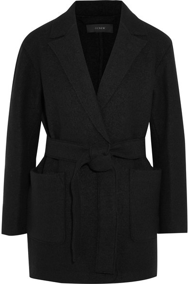 J.Crew - Sabrina Belted Boiled Wool Coat - Black