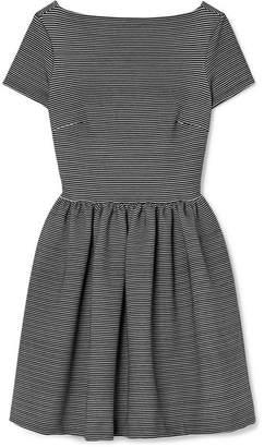 Miu Miu Striped Ribbed Stretch-jersey Mini Dress - Black
