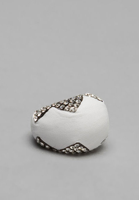 House of Harlow White Leather and Stone Cocktail Ring