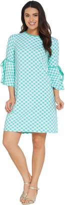 Isaac Mizrahi Live! Gingham T-Shirt Dress with Cutaway Sleeve Detail