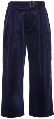 Junwei Lin Belted pleated unisex corduroy wide leg pants