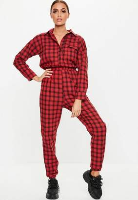 Missguided Red Plaid Utility Romper