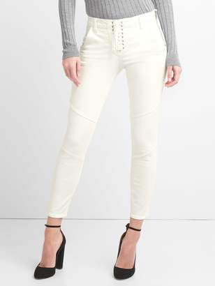 Gap Mid Rise True Skinny Ankle Jeans with Lace-Up Detail