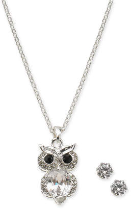 """Charter Club Silver-Tone Crystal Owl 18"""" Pendant Necklace & Stud Earrings"""