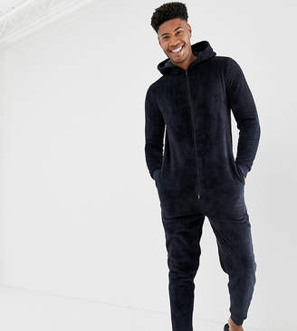 Asos DESIGN Tall onesie in navy fleecy fabric