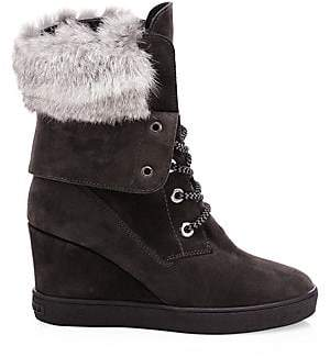 Aquatalia Women's Cordelia Fur-Trim& Shearling-Lined Suede Platform Wedge Boots