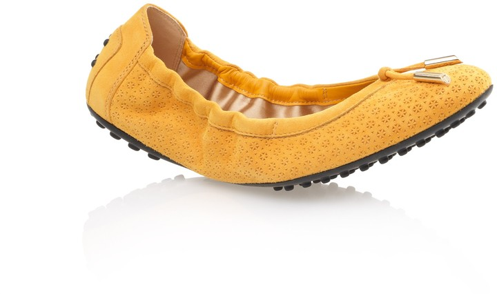 Tod's Suede Ballet Flats With Front Tie