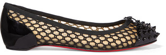 Christian Louboutin - Mix Spiked Patent-leather And Embroidered Mesh Point-toe Flats - Black $695 thestylecure.com