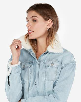 Express Petite Faux Fur Lined Boyfriend Jacket