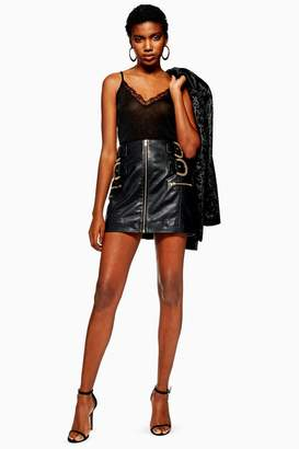 Topshop Leather Buckle Mini Skirt