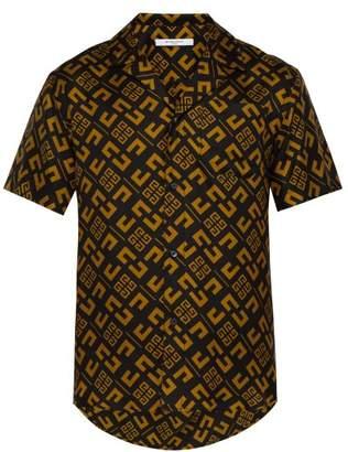 Givenchy Logo Print Silk Faille Bowling Shirt - Mens - Black Yellow