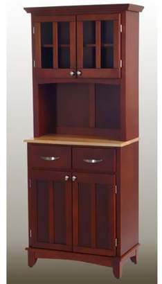 ONLINE Home Styles Cherry Buffet with Natural Wood Top and 2-Glass Door Hutch